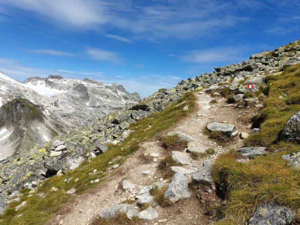 Travnatý horský hřeben před vrcholem
